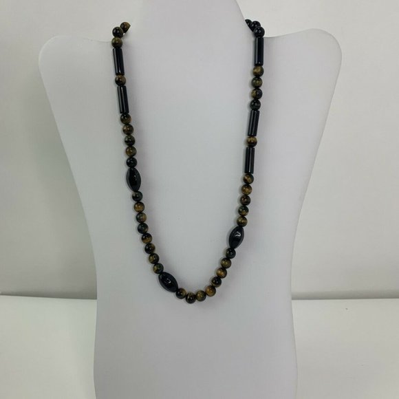 Unbranded Jewelry - Vintage Onyx Tigers Eye Beaded Strand Necklace